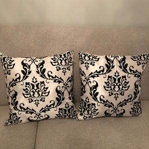 Two Damask Decorative Throw Pillow Covers